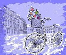 水墨城市圣诞图片