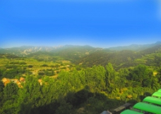蓝天远山图片