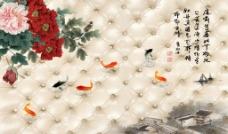 软包牡丹壁画(不分层)图片