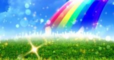 草地彩虹泡泡星光