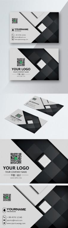 黑色简约几何商务名片设计