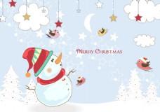 卡通圣诞雪人插画