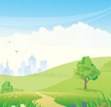 卡通草地背景图片