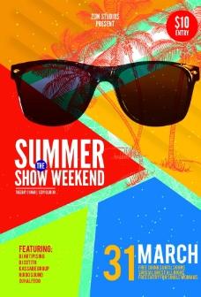 时尚夏日周末派对宣传海报图片
