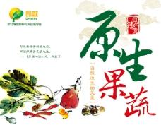 绿色有机原生态蔬菜水墨风格包装设计