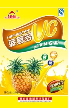 菠萝果味饮料包装袋设计PSD素材食