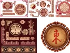 中国传统窗花花纹矢量素材图片