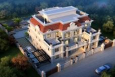 庄园别墅建筑效果图图片