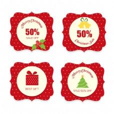 四款红色新年PSDEPS标签设计