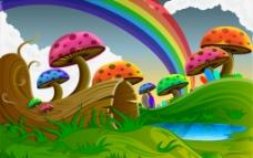 卡通七彩蘑菇图片