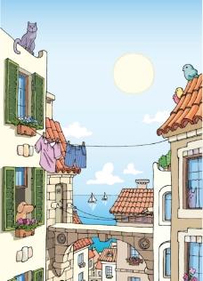 海滨城市手绘图图片