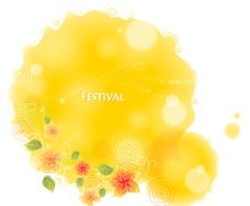 橘黄色梦幻花纹底纹图片