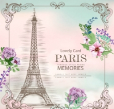巴黎插图卡片图片