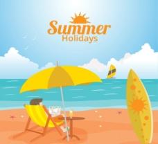 夏日沙滩度假 插画图片