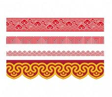 红色祥云古典花纹边框png元素