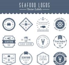 海洋食品标签矢量素材图片
