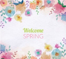 春季背景与彩色水彩花卉