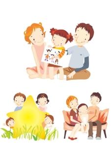 矢量情景插画家庭生活图片
