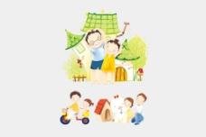 矢量情景插画快乐家庭生活图片