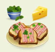 培根和奶酪吐司图片