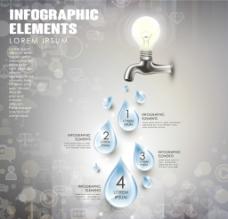 水龙头水滴商务信息图矢量素材图片