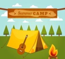 夏日野营 插画图片