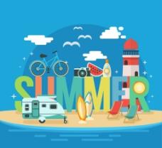 夏季旅行 插画图片