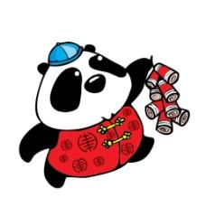 放鞭炮的熊猫图片