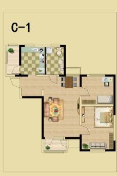 户型图 填充家具房型图图片