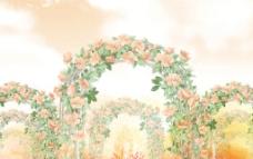 水彩玫瑰花门图片