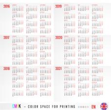 2016-2021英文日历模板图片