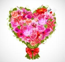 情人节心形花束花团图片
