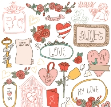 情人节手绘标签边框背景图片