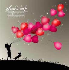 心形气球浪漫背景图片