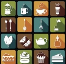16个精致下午茶剪影矢量图标素图片
