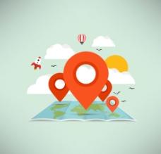 创意地图与地标矢量素材图片