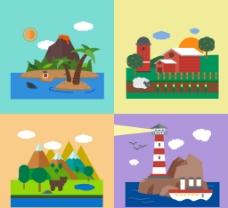度假风景 插画图片
