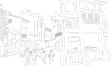 老街玩耍线描图片