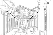 老街线描图片