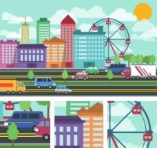 卡通城市风景图片