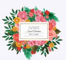 美丽花卉婚礼邀请卡图片