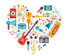 乐器组合的 爱心图片