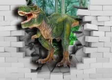 3D恐龙电视背景墙图片