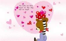 浪漫心形小熊电视背景墙图片
