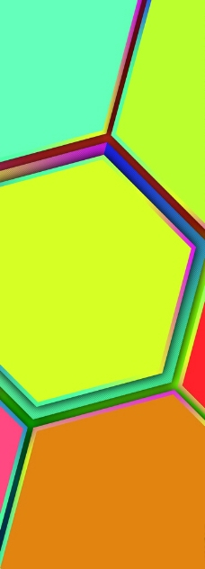 炫彩多边形六边形版式设计图片