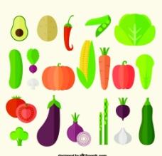 21款扁平化蔬菜矢量素材图片