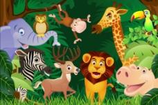 丛林中的小动物图片