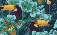 兰花鸟四方连续图案图片