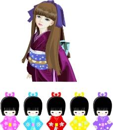 日本和服娃娃图片