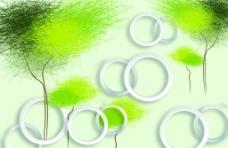 3D圆圈抽象树电视背景墙图片